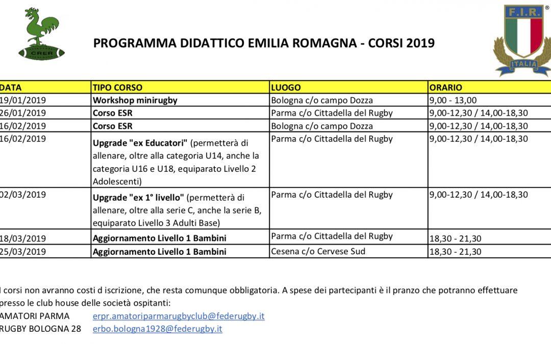 IL PROGRAMMA DIDATTICO PER I CORSI ALLENATORI 2019